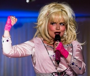 Donna performing as Dolly Parton