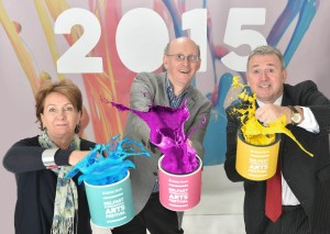Richard Wakely (centre), Festival Programme Director, Roisin McDonough (left), Chief Executive of the Arts Council NI and Stephen Cruise (right), Head of Branch Banking, Ulster Bank