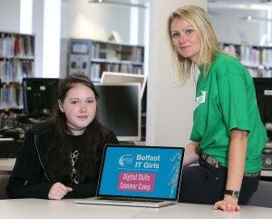 Helen Wright, 15, (left)  with Karen Hull from TotalMobile