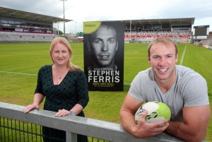 Stephen Ferris at Kingspan Stadium with Alison Allen, Store Manager of Easons Belfast.