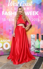 Aimee Boyle in a Red Satin Two Piece, P.O.A by Gordon Donaldson @ West Coast Cooler FASHIONWEEK