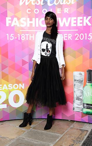 Helen Sugan in s Black Tee, £58.00 @ Spoilt Belle Boutique, Black Tulle Skirt, £61.00 @ Spoilt Belle Boutique, Mini Tweed Bag, £18.00 at Simply Be @ CastleCourt @WCCFW