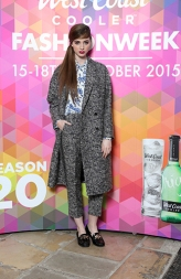 Lauryn Greer in Paul Smith Print Blouse, £135.00, Paul Smith Tweed Trouser, £190.00, Paul Smith Coat, £399.00 @ Excel Clothing @ West Coast Cooler FASHIONWEEK