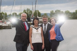 Michael Browne​ and Cllr Linda Dillon of Mi​d Ulster Council;​ Eddie Rowan, Tourism NI and ​Eimear Kearney of Lough Neagh Partnership.