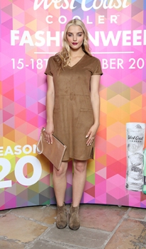 Lucy Martin in a Suede Dress, £32.00 @ Next, Gold Metallic Bag, £10.00 at Dorothy Perkins @ CastleCourt @ West Coast Cooler FASHIONWEEK