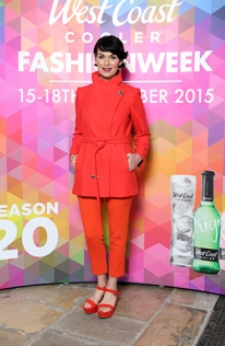 Nuala Meenehan in Red Coat by Ted Baker, £250.00 @ Excel Clothing, Orange Trouser, £35.00 @ Marks and Spencer @ West Coast Cooler FASHIONWEEK