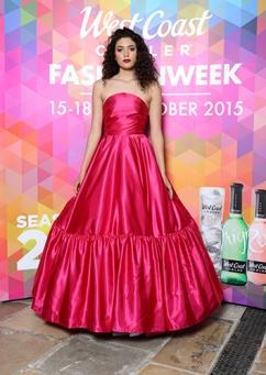 Stefania Egan in Pink Satin Ballgown, P.O.A by Deux Cara @ West Coast Cooler FASHIONWEEK