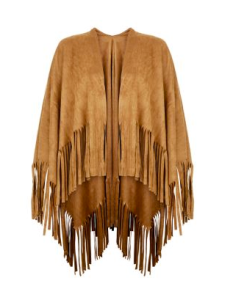 1.Tan Suedette Fringed Wrap