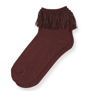 10. Burgundy Fringe Socks