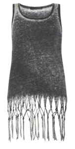 12. Grey Burnout Fringe Vest