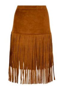 3.Camel Suedette Fringe Midi Skirt