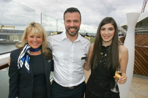 Sandra Corkin, MD of Oasis Travel and holiday-maker Gemma McCrory with Captain Emmanuel Alevropoulos
