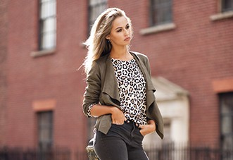 Khaki faux suede waterfall jacket £9.99 on sale November 16 and Leopard print fine knit top £9.99 on sale November 30