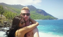 Johnny with girlfriend Jaa in the Seychelles