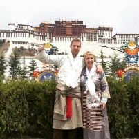Johnny with his mum in Tibet