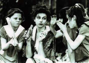 Karen (centre) in the Little Flower Girls School production of Annie in 1992 playing Miss Hannigan with a young Rachel Tucker as Molly