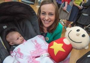 Nichola Mallon and her 5 week old daughter Elena