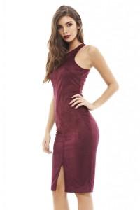 AX PARIS - BURGUNDY SUEDETTE DRESS - £35.99