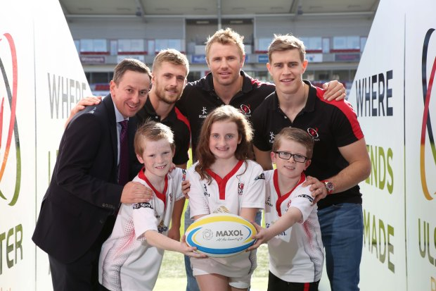 Maxols Brian Donaldson is Pictured with Ulster players Roger Wilson, Paul Rowley and Andrew Trimble with Noah Doyle, Anna McLaughlin and Benjamin Doyle