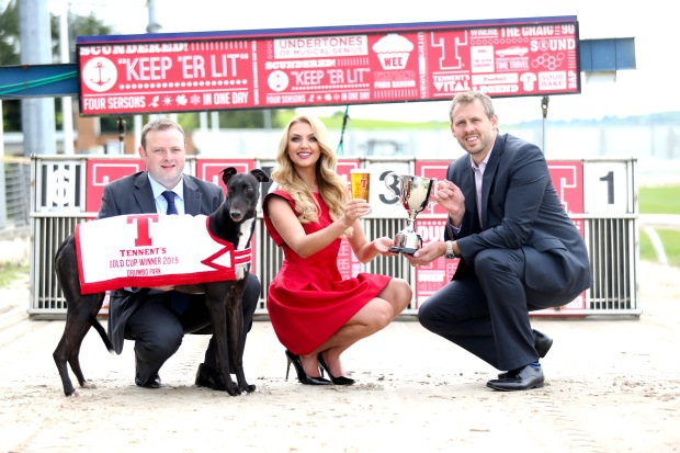 Meagan Green with (left) John Connor, Drumbo Park Racing Manager, and Brian Beattie, Marketing Director with Tennent's NI