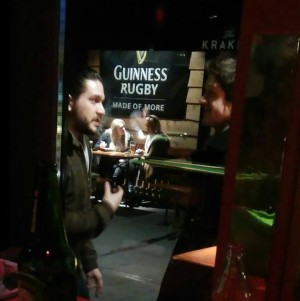 A source spotted Kit Harrington and Iwan Rheon in Belfast, but was denied a selfie.