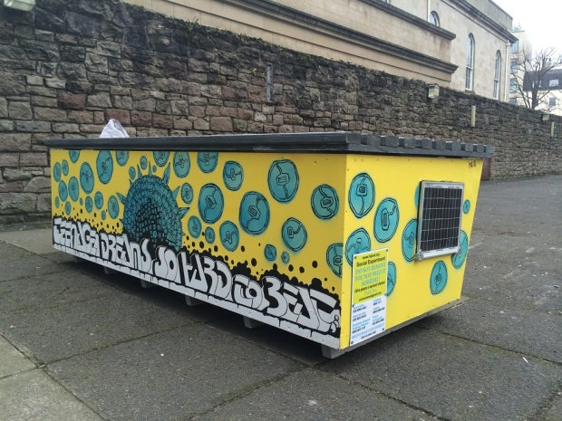 Homeless box in Belfast city centre