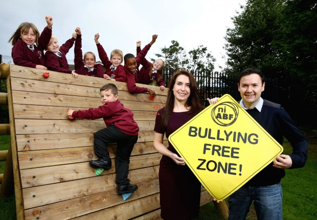 Translink's Ursula Henderson and Lee Kane, Regional Anti Bullying Coordinator, Northern Ireland Anti Bullying Forum (NIABF) with students from Largymore Primary School, Lisburn