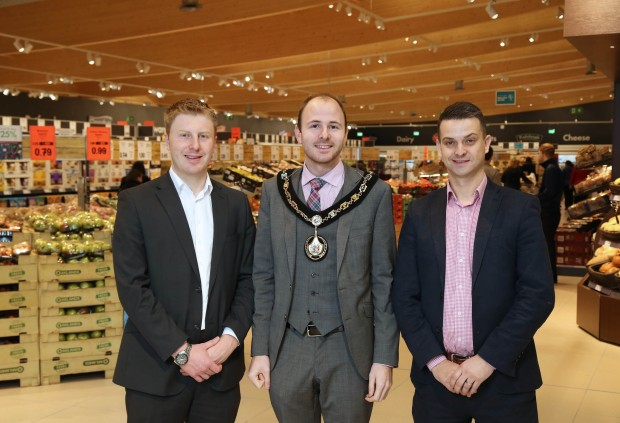 The Lord Mayor of Armagh City, Banbridge and Craigavon Borough Councillor Darryn Causby, Paul Gibson and Gordon Cruickshanks of Lidl Northern Ireland
