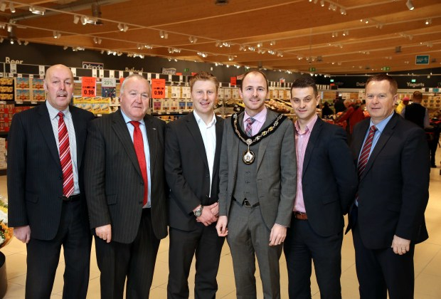 Pictured with The Lord Mayor of Armagh City, Banbridge and Craigavon Borough Councillor Darryn Causby are Alderman Junior McCrum, Councillor Seamus Doyle,Paul Gibson and Gordon Cruickshanks of Lidl Northern Ireland and Councillor Paul Greenfield