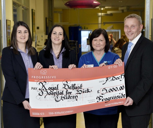 Judith Matthews, Noleen O'Boyle and Michael Boyd of Progressive Building Society and Heather Tough of the Royal Belfast Hospital for Sick Children