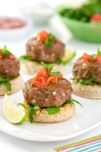 mini lamb burgers with tomato relish mint yoghurt high res