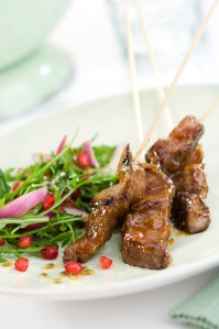 sticky apricot lamb kebabs with passion fruit rocket pomegranate high res