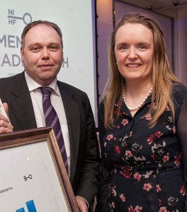 Ciaran O'Neill, President of NIHF and operator of Bishop's Gate Hotel in Derry-Londonderry with Sarah Duignan, Director of Account Management, STR Global
