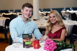 Photographer Darren Kidd / Press Eye. Former Miss Northern Ireland, Meagan Green, and Model, Fraser Orr at 5 rating restaurant, James Street South as they enjoy dinner ahead of Valentine's Day.